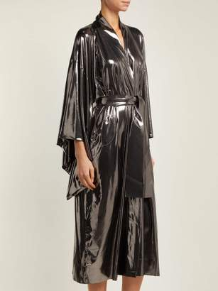 Norma Kamali Belted Lame Robe - Womens - Silver