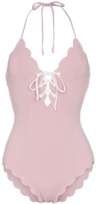 Marysia Swim Broadway lace up scallop trim swimsuit