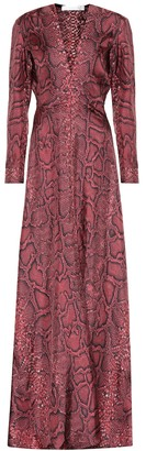 Victoria Beckham Snake-effect silk maxi dress