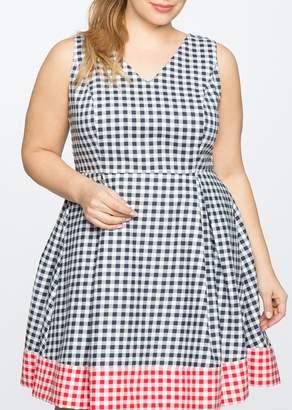 ELOQUII Gingham Blocked Fit & Flare Dress (Plus Size)