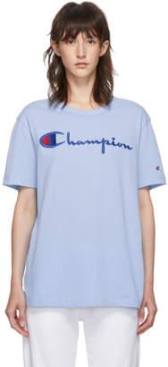 Champion Reverse Weave Blue Big Script Logo T-Shirt