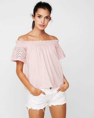 Express One Eleven Eyelet Off The Shoulder Tee