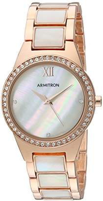 Mother of Pearl Armitron Women's 75/5468MPRG Swarovski Crystal Accented Rose Gold-Tone and Mother-of-Pearl Bracelet Watch
