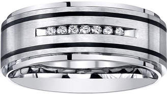 MODERN BRIDE Mens Channel-Set Diamond Ring in Stainless Steel