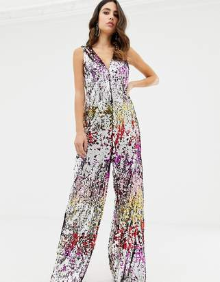 TFNC rainbow sequin relaxed jumpsuit