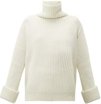 Brunello Cucinelli Faceted Buttoned Cuff Cashmere Roll Neck Sweater - Womens - White