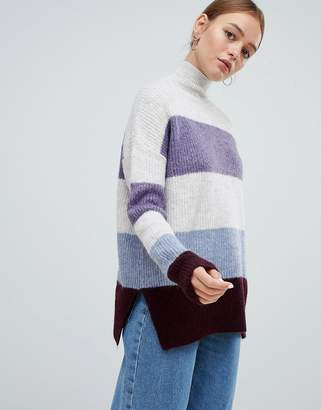 New Look Color Block Stand Neck Sweater