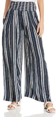 Aqua Smocked Striped Wide-Leg Pants - 100% Exclusive