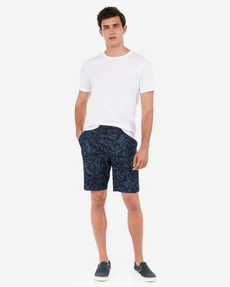 Express Slim 9 Inch Hibiscus Print Flat Front Shorts
