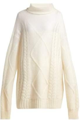 Maison Margiela Roll Neck Mohair Blend Sweater - Womens - Ivory