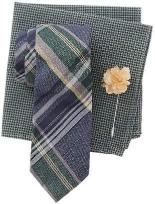 Ben Sherman Carlyle Plaid Tie, Pocket Square, & Lapel Pin Set
