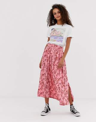 8a22c536d4 Asos Design DESIGN knife pleated midi skirt in pink spring floral