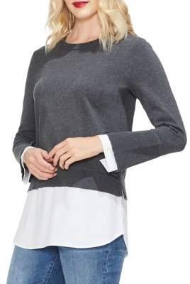 Vince Camuto Petite Sapphire Sheen Cotton Sweater