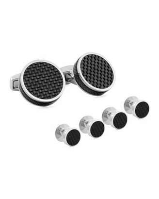 Tateossian Round Carbon Fiber Cuff Links & Stud Set