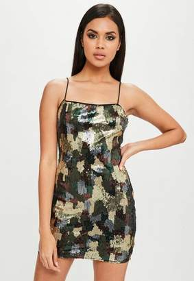 Missguided Carli Bybel x Green Camo Sequin Dress