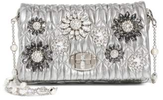 Miu Miu Crystal Embellished Leather Crossbody