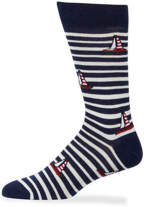 Neiman Marcus Men's Striped Sailboat Socks