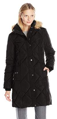Tommy Hilfiger Women's Diamond Quilted Down Coat with Fur Trim Hood