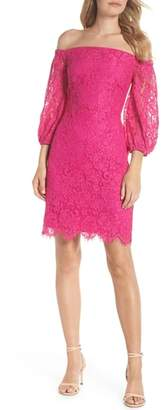 Trina Turk trina Azul Scallop Hem Off the Shoulder Lace Dress