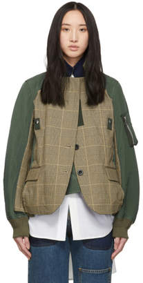 Sacai Beige and Green Glencheck Jacket