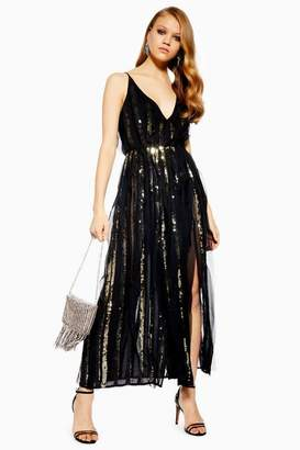 Topshop Sequin Chiffon Maxi Dress