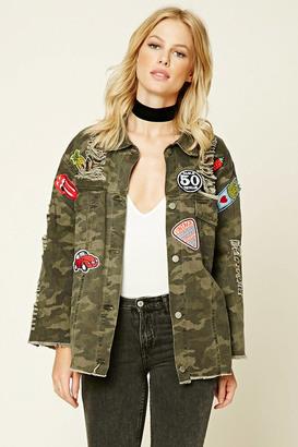 FOREVER 21 Denim Camo Patch Jacket $48 thestylecure.com