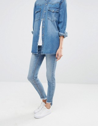 Noisy May Eve Low Rise Super Skinny Jeans with Uneven Raw Hem $52 thestylecure.com