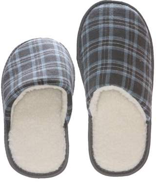 99919761c2f0 Deluxe Comfort Tartan Plaid Mens Memory Foam Slip-On House Slipper
