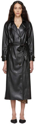 Nanushka Black Vegan Leather Chiara Trench Coat