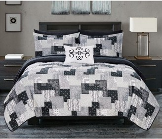Chic Home Viona 4 Piece Reversible Quilt Coverlet Set Embossed Patchwork