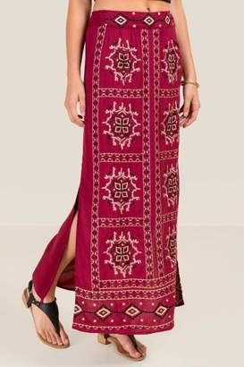 francesca's Kelli Embroidered Maxi Skirt - Brick