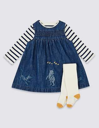 "Marks and Spencer Winnie the Pooh & Friendsâ""¢ Pinafore & Bodysuit with Tights"