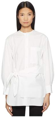 Yohji Yamamoto Y's by K-Collarless Tie Front Button Up Shirt Women's Clothing