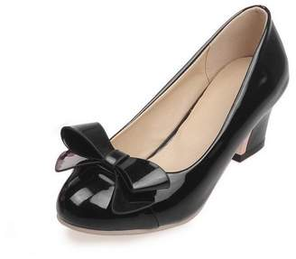AmoonyFashion Women's Patent Leather Round Closed Toe Kitten Heels Assorted Color Pumps-Shoes