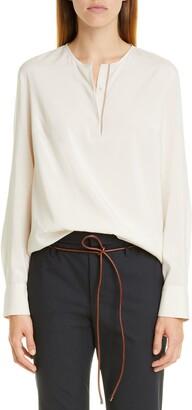 Brunello Cucinelli Monili Trim Long Sleeve Stretch Silk Blouse