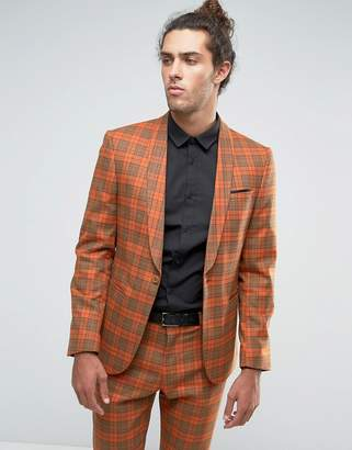 Asos Design Slim Suit Jacket In Bold Rust Check