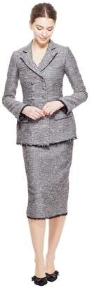 Lela Rose Sequin Embroidered Tweed Fringe Hem Pencil Skirt