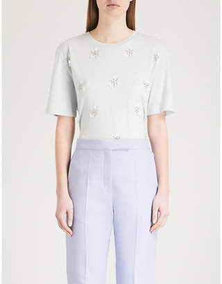 Sandro Floral-embellished cotton-blend T-shirt