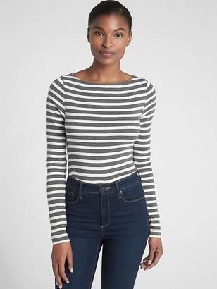 Gap Modern Stripe Long Sleeve Boatneck T-Shirt