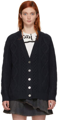 3.1 Phillip Lim Navy Aran Cable Cardigan