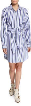Derek Lam 10 Crosby Striped Tie-Front Shirt Dress