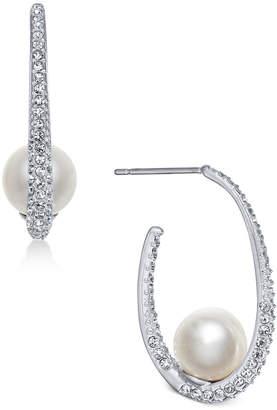Danori Silver-Tone Imitation Pearl & Pave Hoop Earrings, Created for Macy's