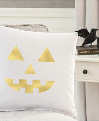"Cathy's Concepts Gold Metallic-Print Jack O' Lantern 16"" Square Decorative Pillow"