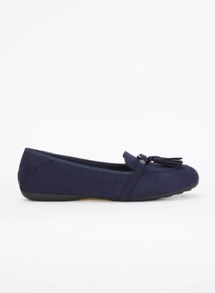 Evans EXTRA WIDE FIT Navy Blue Tassel Detail Loafers