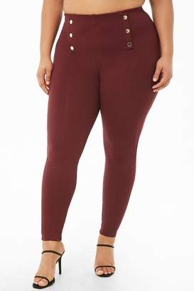 Forever 21 Plus Size Double-Breasted High-Rise Leggings