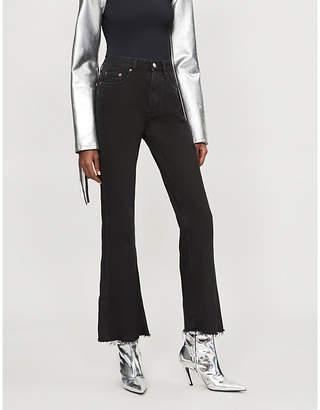 MM6 MAISON MARGIELA Frayed-hem slim-fit flared high-rise jeans