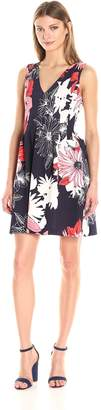 Vince Camuto Women's Printed Scuba Fit and Flare Dress, Navy/Red