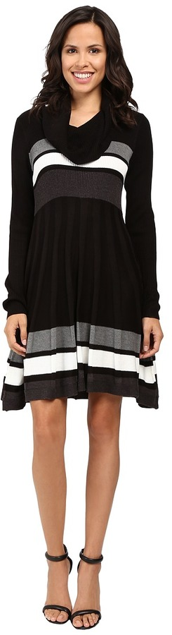 Calvin Klein Color Block Fit and Flare Sweater Dress CD6W4PU5
