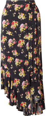 Preen Line Sibyll Asymmetric Floral-print Crepe De Chine Wrap Midi Skirt - Black