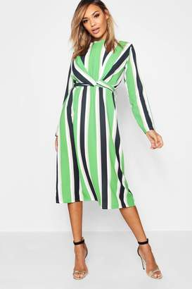 boohoo Stripe Wrap Front Woven Midi Dress